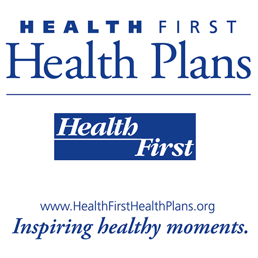 Logo Health First Health Plans vertical all blue